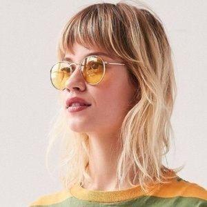 UO Daydream Metal Round Sunglasses in Yellow